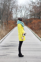 yellow Sheinside coat - black Target boots - light blue The Seam Designs scarf