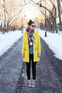 Yellow-sheinside-coat-black-urban-outfitters-jeans-red-h-m-scarf