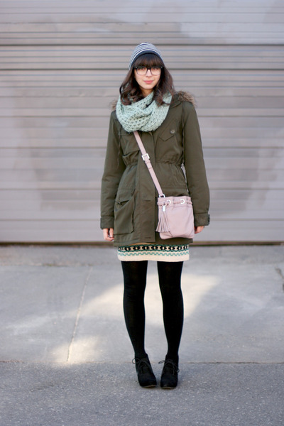 black Target boots - army green Max Studio coat - aquamarine Seams to Be scarf