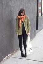 brown H&M scarf - orange gifted scarf - black Target boots