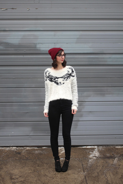 black Target boots - black Urban Outfitters jeans - maroon Urban Outfitters hat