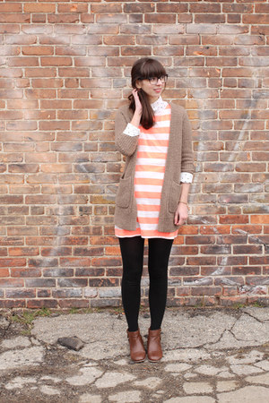 brown modcloth boots - light orange Jcrew dress - white Urban Outfitters shirt