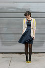 Navy-eshakti-dress-black-urban-outfitters-tights-yellow-simply-vera-cardigan
