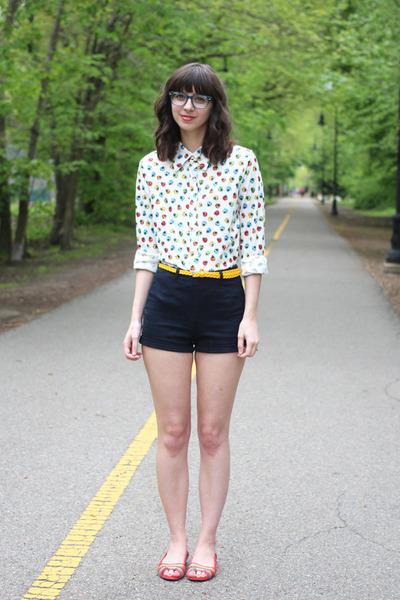 white thrifted shirt - black Forever21 shorts - light blue BonLook glasses