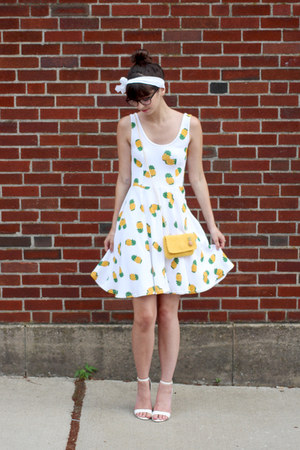 white handmade dress - mustard sarah oliver purse - white lulus wedges