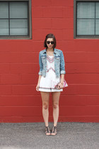 white Langford Market romper - sky blue H&M jacket - white DIY bag
