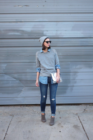 navy Old Navy jeans - charcoal gray DSW boots