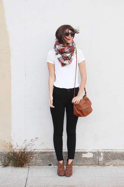 brown Express boots - black Urban Outfitters jeans - red H&M scarf