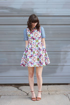 sky blue Urban Outfitters shirt - hot pink modcloth dress