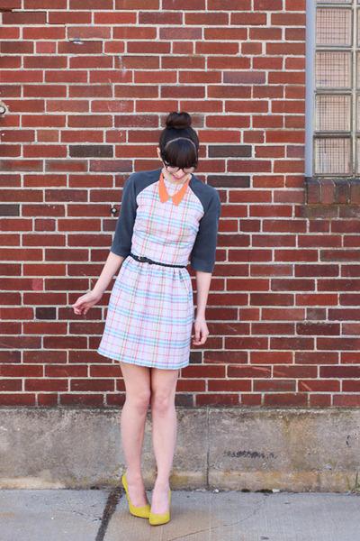 heather gray handmade dress - orange shopHollyDolly necklace