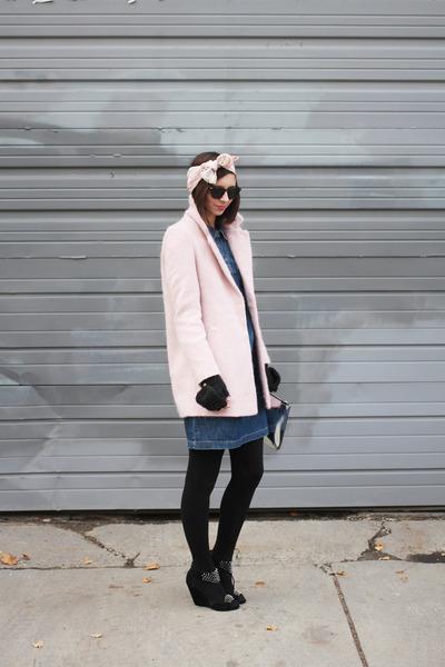 light pink Forever21 coat - navy Old Navy dress - light pink thrifted scarf