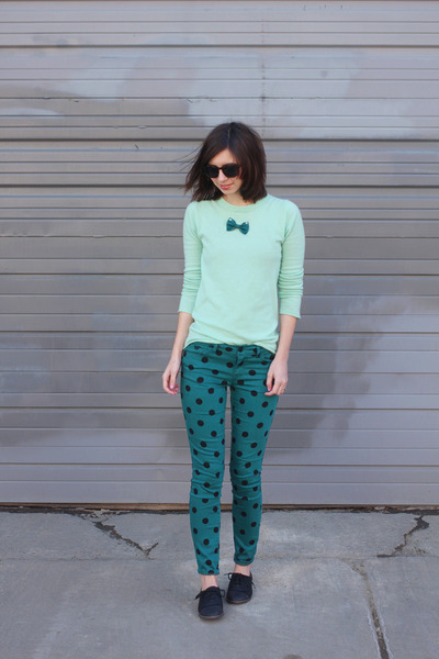 teal Forever21 pants - black LeBunny Bleu shoes - aquamarine Jcrew sweater