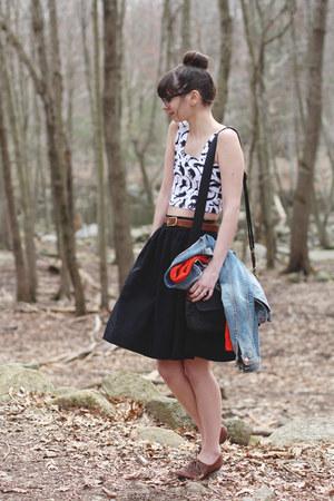 white Topshop shirt - brown big buddha shoes - black H&M skirt