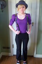 purple delias shirt - black Forever 21 pants - gray Forever 21 hat