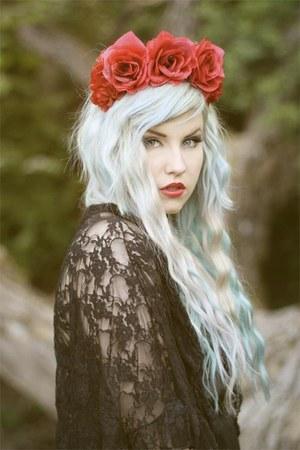 ruby red rose headband Topshop hat - black Topshop shirt