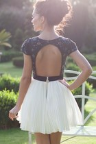 silver silver flowers shirt - black shirt - white skirt