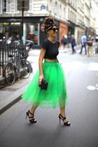 lime green tutu romwe skirt - dark gray headband romwe scarf