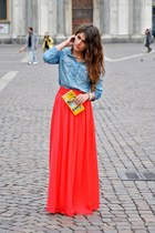red long flowly Macys skirt - sky blue Forever21 jacket