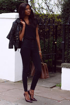 black leather Topshop jacket - black black American Apparel leggings