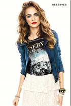 blue jean short jacket - dark gray shirt - off white skirt