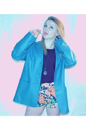 turquoise blue leather pandleton blazer - floral print thrifted shorts