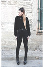 Black-yves-saint-laurent-boots-black-glamurous-shirt