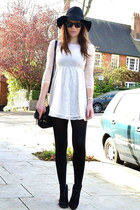 black fedora H&M hat - ivory lace H&M dress - black cotton Primark tights
