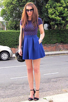 blue Topshop skirt - polka dot H&M top - black Zara heels