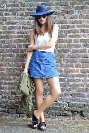 white cotton Topshop top - blue denim Topshop skirt