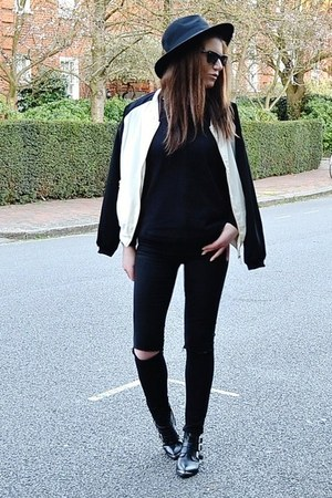 black leather Offfice boots - black skinny Topshop jeans - black fedora H&amp;M hat