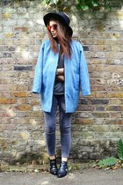sky blue oversized Topshop coat - heather gray skinny Topshop jeans