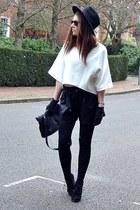 black suede Topshop boots - black fedora H&M hat - black faux-leather Zara bag