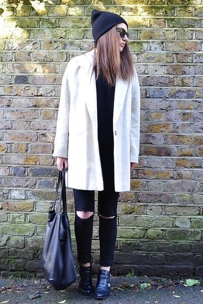 beige oversized River Island coat - black leather Zara boots