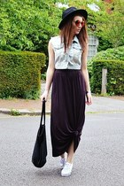 maroon maxi H&M skirt - black fedora H&M hat - light blue denim Topshop jacket