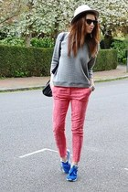 bubble gum jacquard Zara pants - silver fedora Aldo hat