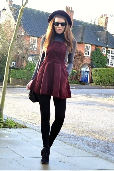 brown corduroy Topshop dress - black suede Topshop boots