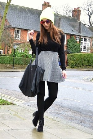 heather gray cotton Topshop skirt - yellow beanie Topshop hat