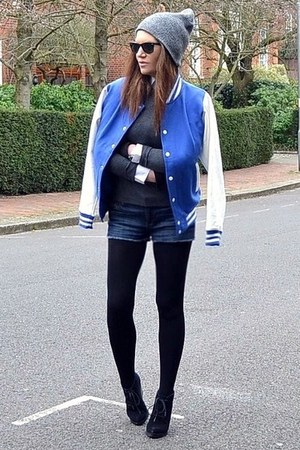 blue baseball Topshop jacket - heather gray beanie Topshop hat