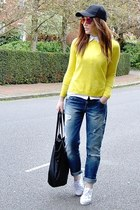 yellow knitted Topshop jumper - light blue boyfriend Zara jeans