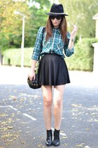 forest green plaid Zara shirt - black chain Zara hat
