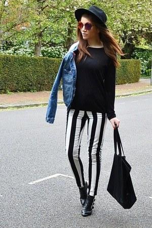 white striped Primark pants - black fedora H&M hat - sky blue denim Zara jacket