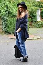 navy knitted Zara cardigan - sky blue boyfriend H&M jeans