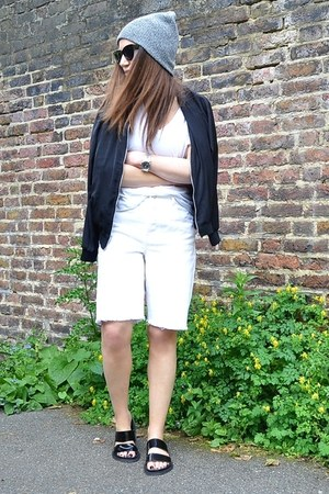 white denim Topshop shorts - black bomber H&M jacket