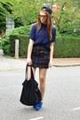 Navy-oversized-zara-blouse-deep-purple-plaid-zara-skirt