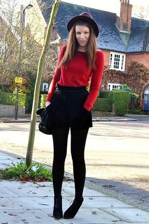 black velvet Zara shorts - black suede Topshop boots - dark brown fedora H&M hat