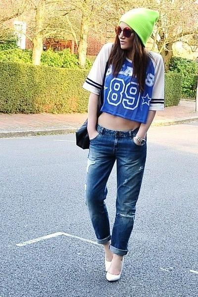 yellow beanie Topshop hat - blue boyfriend Zara jeans