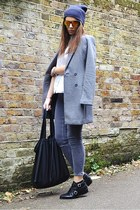 heather gray crombie H&M coat - black leather Zara boots