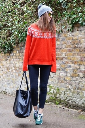 red patterned H&M jumper - gray skinny Topshop jeans