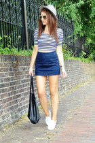 navy denim Topshop skirt - beige mirrored H&M sunglasses