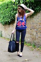 blue mesh Primark t-shirt - black ripped Topshop jeans